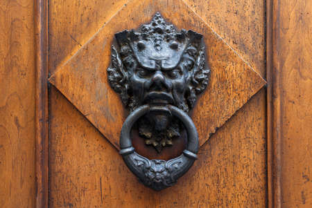 Old door knocker in the form of a lion head, Florence, Italy photo