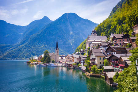 world travel: View of Hallstatt village with lake and Alps behind, Austria