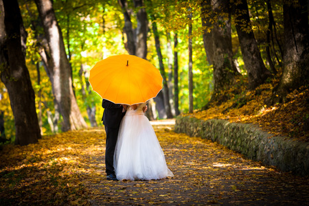 Young married couple in love kissing under umbrella in side a forest park autumn photo