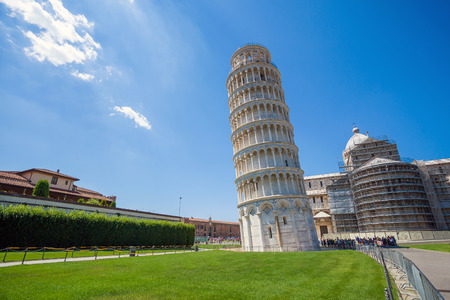 Pisa, Piazza del Duomo, with the Basilica leaning tower, Italy photo