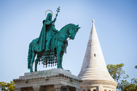 King Saint Stephen statue at Matthias Church, Budapest, Hungary photo