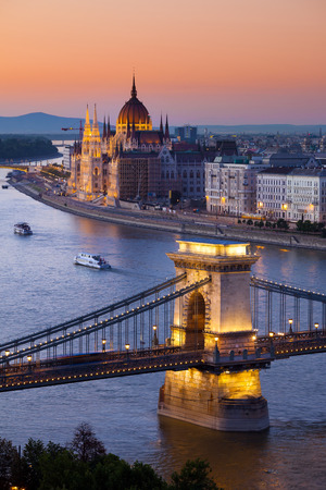 budapest: Budapest sunset cityscape with Chain Bridge
