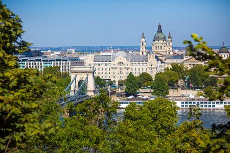 szechenyi: View of Szechenyi Chain Bridge on August 2, 2013 in Budapest. Stock Photo