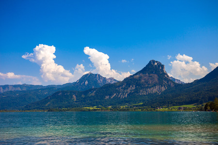 wolfgang: Wolfgang See lake with Sparber and Bleckwand peaks, Alps mountains, Austria