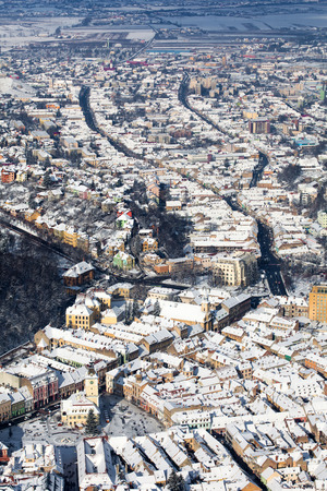 brasov: Brasov, aerial old city panoramic view, Romania