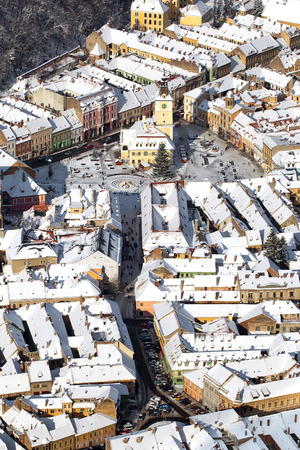 counsel: Aerial view of the Counsel House and Square in old Brasov city, Romania