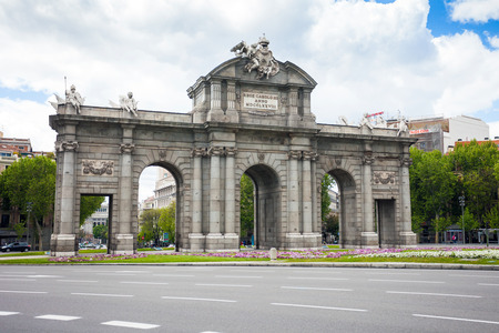 Madrid, Spain - May 6, 2012: Alcal Gate (Puerta de Alcala) a monument in the Independence Square (Plaza de la Independencia) in Madrid, Spain.