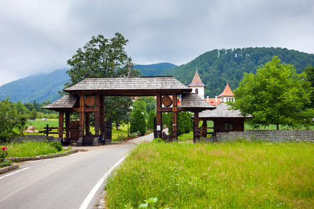 transylvania: Wood entrance gate from Sambata de Sus Monastery in Transylvania, Romania