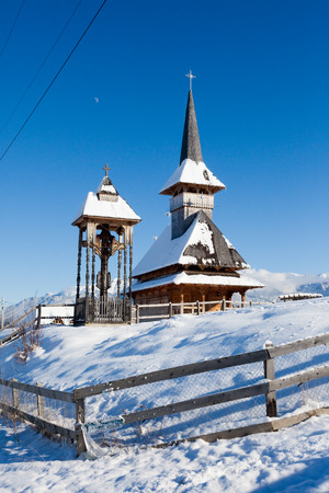 woden: Typical woden church from Moeciu, Romania Stock Photo