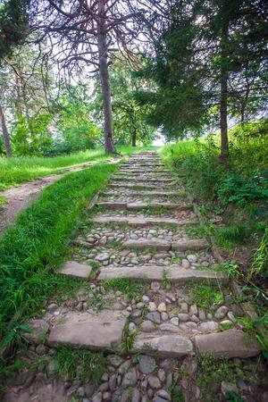 empedrado: R�o piedras en bruto escaleras pavimentadas