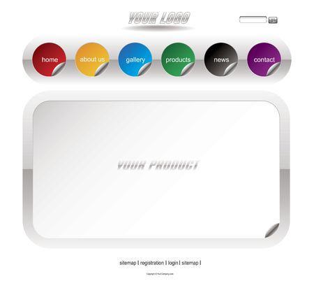 Website white sticker template Stock Photo