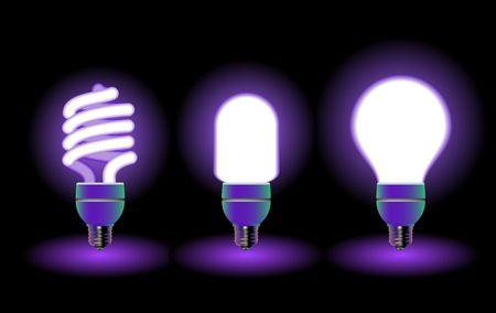 outlets: Ahorro de energ�a bombillas fluorescentes - editable vector Foto de archivo