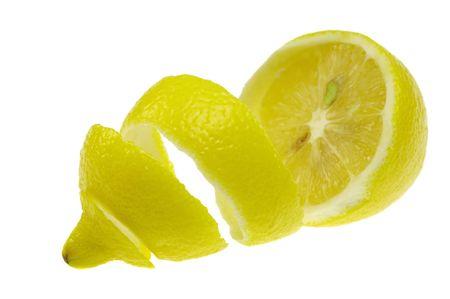 half peeled lemon isolated on white background
