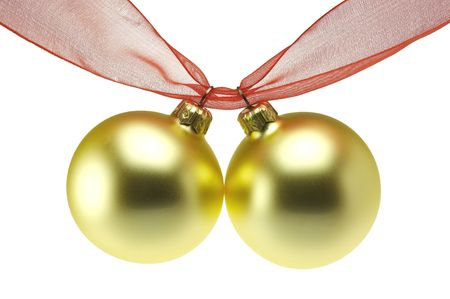 two golden christmas balls hanging on red ribbon Stock Photo - 620745