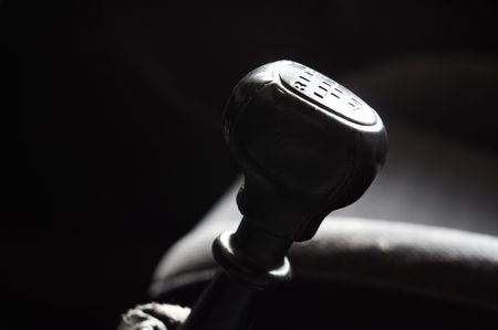 gear handle: Close-up of gear stick handle. Shallow DOF.