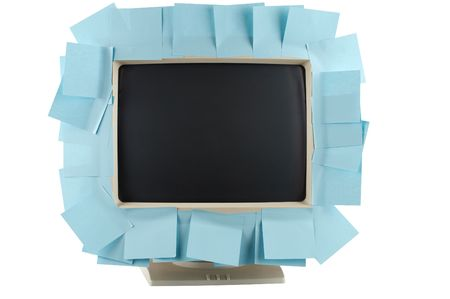 noteboard: Blank memo sheets attached to monitor as reminder concept (clipping path). Stock Photo