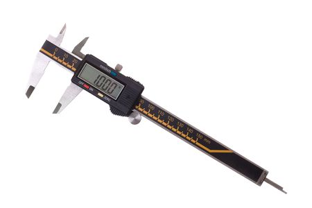 Close-up of digital caliper. Isolated on white background. Stock Photo