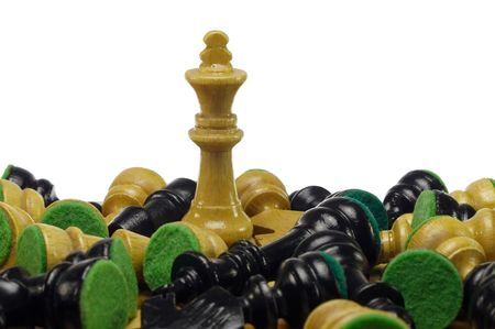 bad plan: white king standing among black and white pieces lying on board
