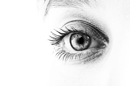 Close-up of eye and face in black and white. Shallow DOF. Stock Photo