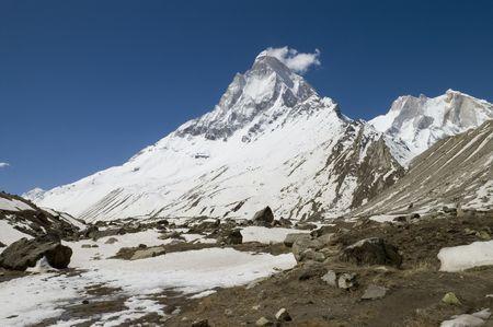 shivling: Shivling peak (6540m high) viewd from Tapoban place, India, the Himalayas