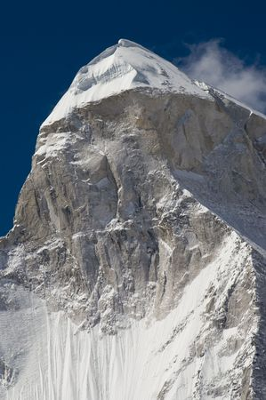 shivling: Close up of Shivling mountain (6450m high) in the Himalayans, India. The picture has been taken from Tapoban place.