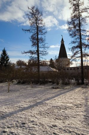 xv century: View at inner yard of St. Joseph monastery near Moscow, Russia. The cloister was founded in XV century. Stock Photo