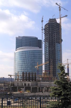 poling: View at construction site of Moscow office center. Stock Photo
