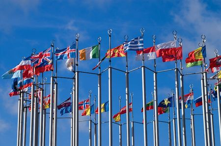 flatter: Collection of European flags Stock Photo