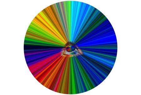 translates: the eye translates light by colors encircles Stock Photo
