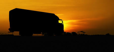 truck in silhouette photo
