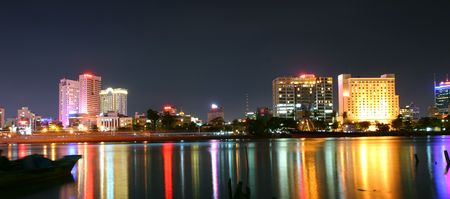 to other side: Panoramic view of Saigon (Vietnam) river from other side Stock Photo