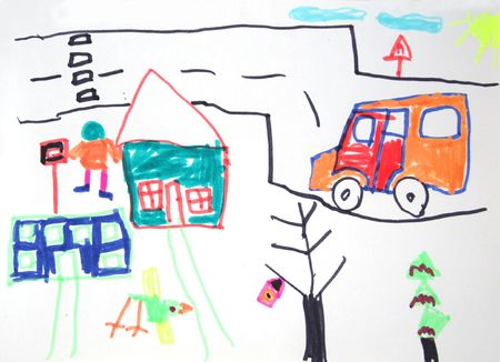 A childs drawing of a house photo