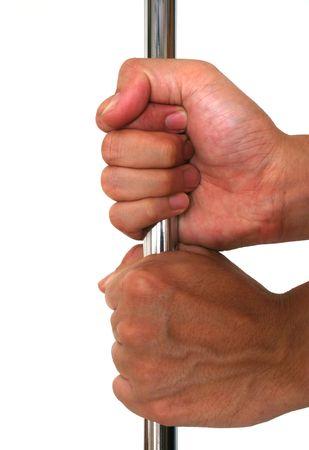 willpower: Due mani di presa un metallo verga ermeticamente; simbolo di potere, controllo, determinazione, la forza, il lavoro di squadra, di resistenza o di volont�.