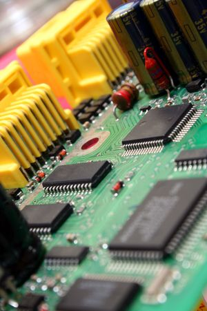 Printed circuit board with various electronics devices assembled on it. Stock Photo - 847269