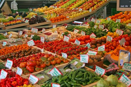Fresh fruits and vegetables sold at the farmers market.