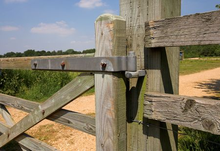 hinge joint: Hinge on wooden farm gate Stock Photo