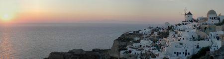 santorini greece: Oia panorama, Santorini, Greece Stock Photo