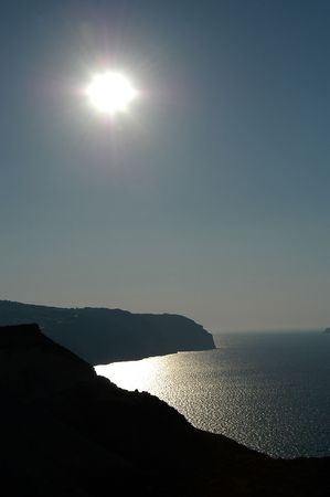 pano: Afternoon sun in Santorini, Greece