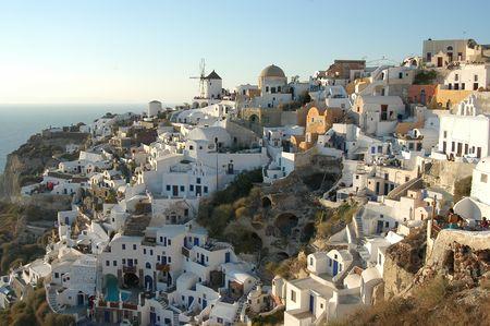 pano: View of Oia, Santorini, Greece Stock Photo