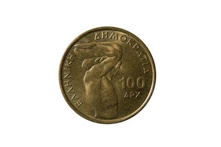 greek currency: 100 Dracmas coin, old Greek currency