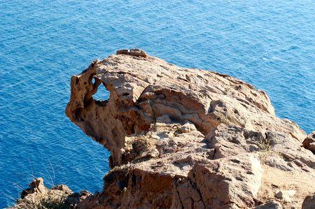 santorini greece: Weird rock in Santorini, Greece
