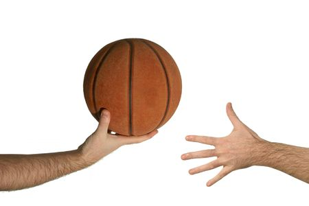 to another: Basketball ball from a hand to another