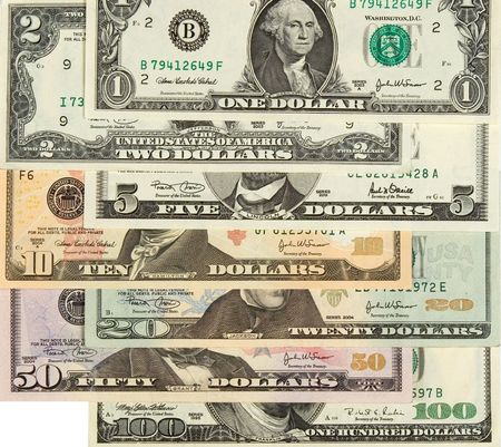 2 50: 1, 2, 5, 10, 20, 50, 100  dollars banknotes,  close up
