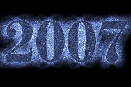 arabic numerals: New year 2007, beautiful arabic numerals on black background