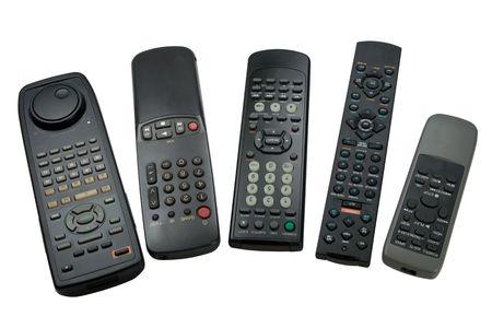 remote controls: Five remote controls, isolated on white