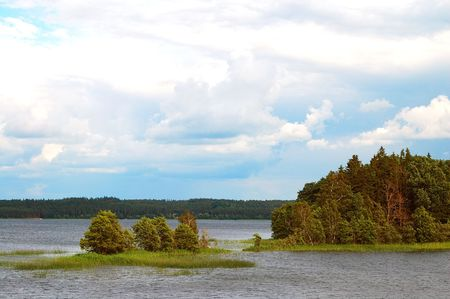 Landscape of the lake Plateliai Lithuania.