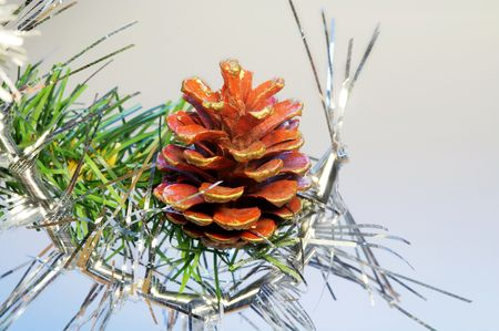 Pine cone and decoration on a branch of christmas tree.