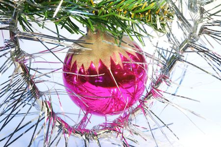 Reflective, purple, round hanging christmas tree toy. Stock Photo