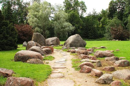 Park with trees and big stones.