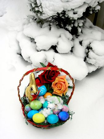 Canadian Easter. Pictures are done on the good Friday before Easter 2005 when Ontario Canada was hit by night snow storm with accumulations about 10 to 15 cm. Stock Photo